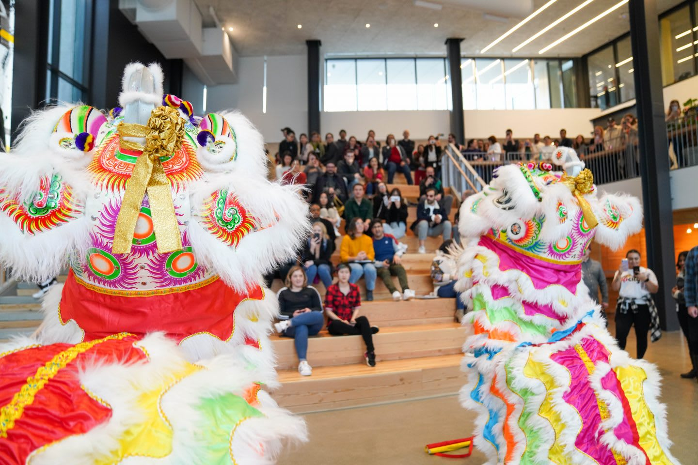 Lion dancing performance in front of employees, adidas HQ, North America, ERG, employees