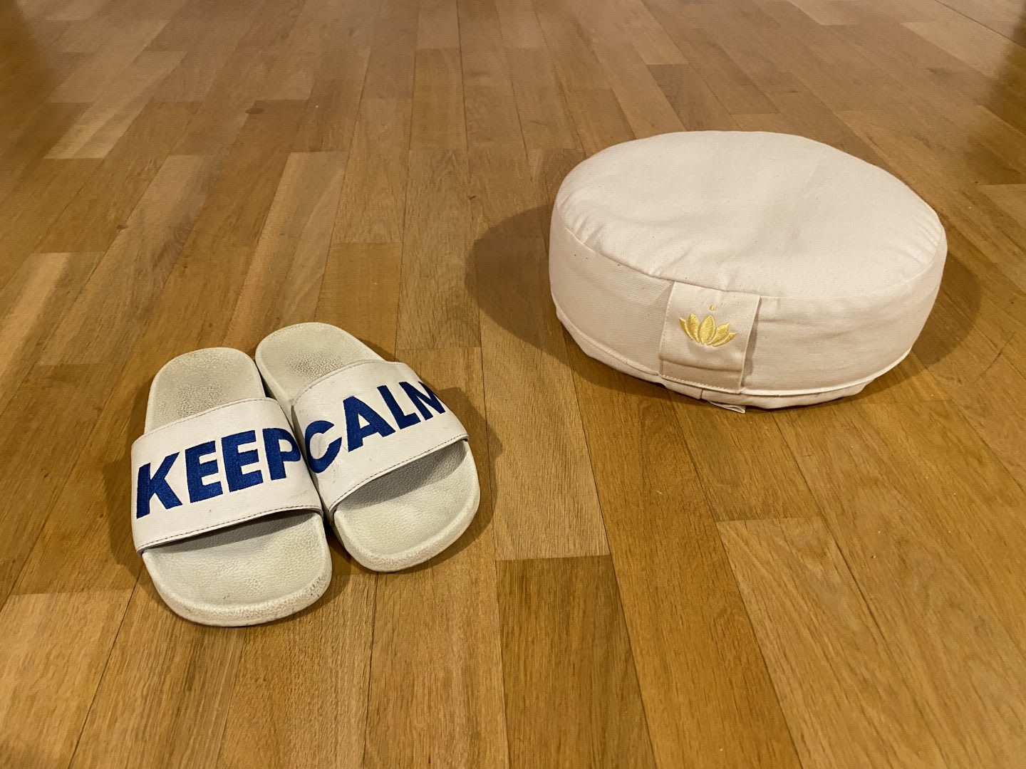 White flipflops and meditation pillow on wooden floor, personal, items, home