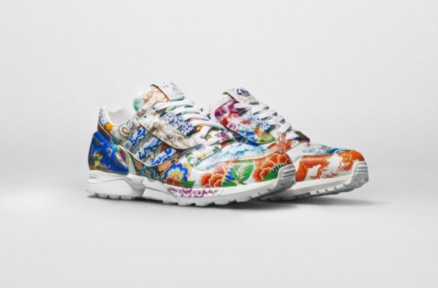 Ornately decorated sneakers in floral print, Meissen, adidas, collaboration, auction, Sotheby's