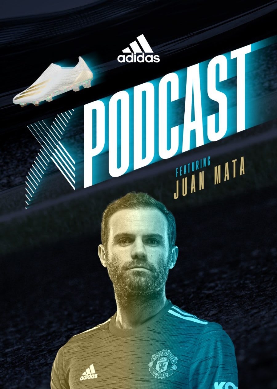 Poster of adidas X football podcast featuring football player Juan Mata, soccer, player, adidas, athlete