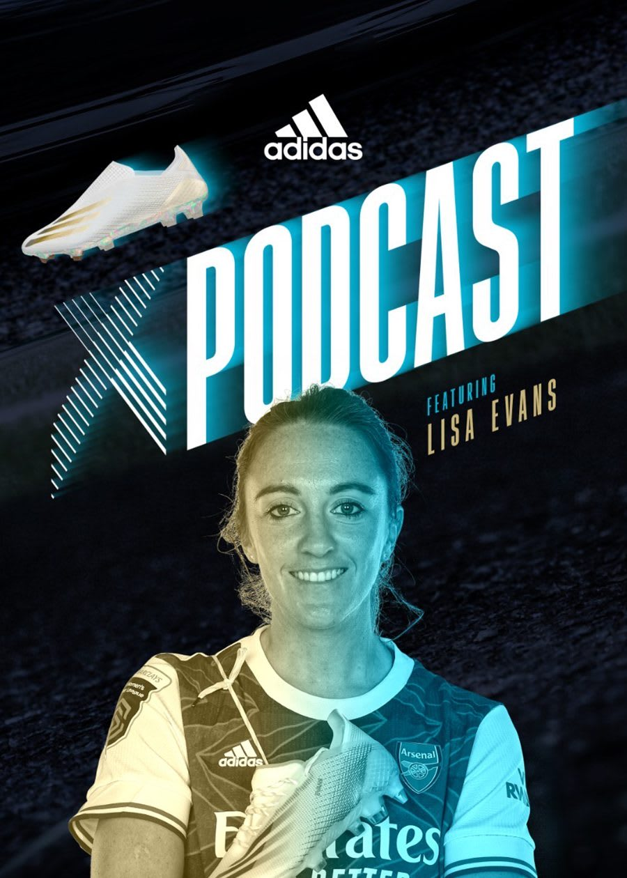 Poster of adidas X football podcast featuring football player Lisa Evans, soccer, player, adidas, athlete