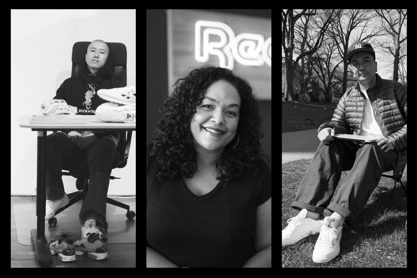 Reebok employees from the fashion collaborations team, James Chan, Carmen Hardaway, Leo Gamboa, teamwork, team, collaboration