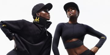 Black models wearing VB x Reebok streetwear collection, Victoria Beckham, Reebok, collaboration, fashion