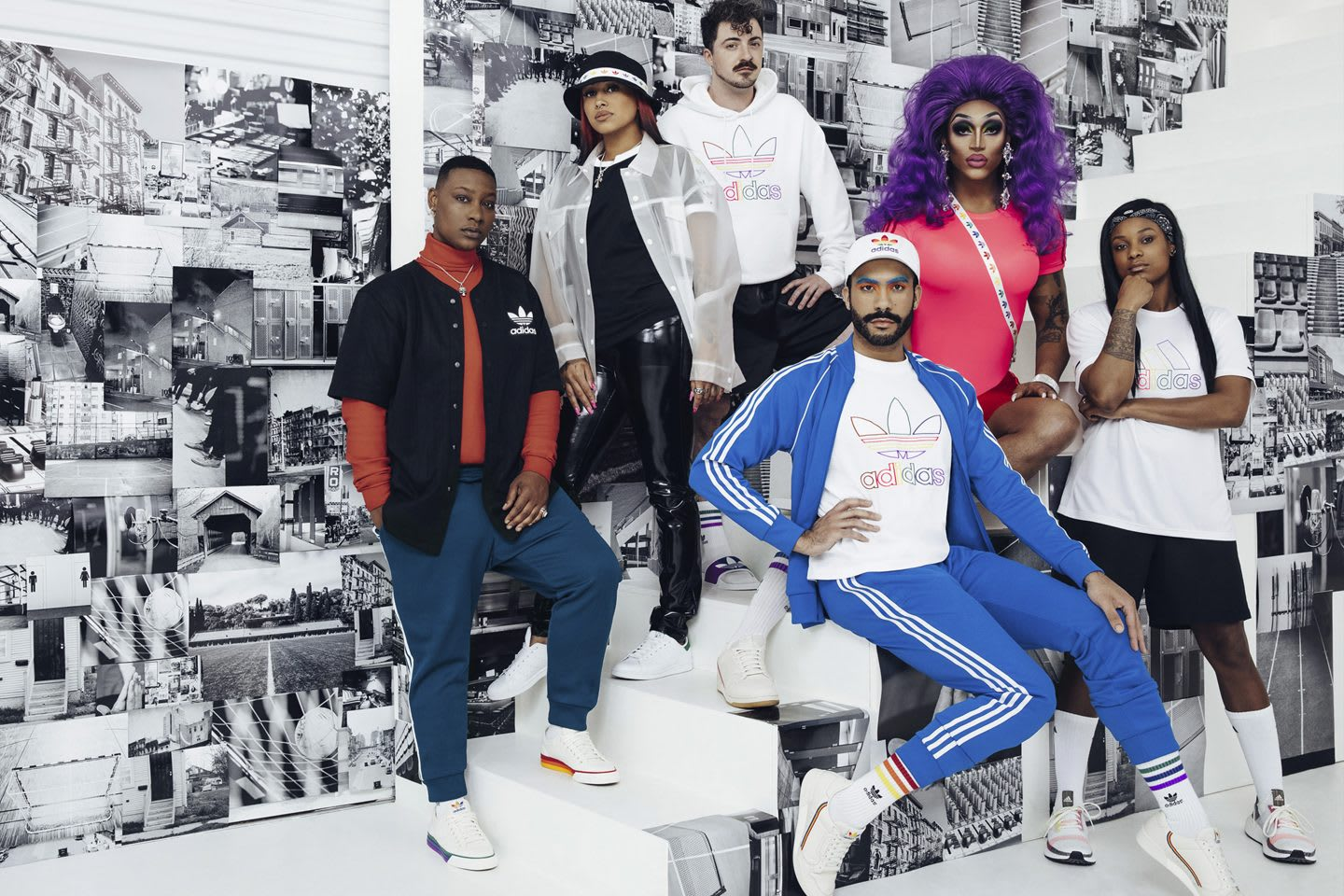 Individuals wearing adidas streetwear posing together in a group, LGBTQ, inclusivity, diversity, adidas