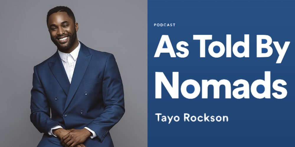 Man in blue suit smiling in a portrait picture, Tayo Jackon, As Told By Nomads, podcast, leadership, leaders