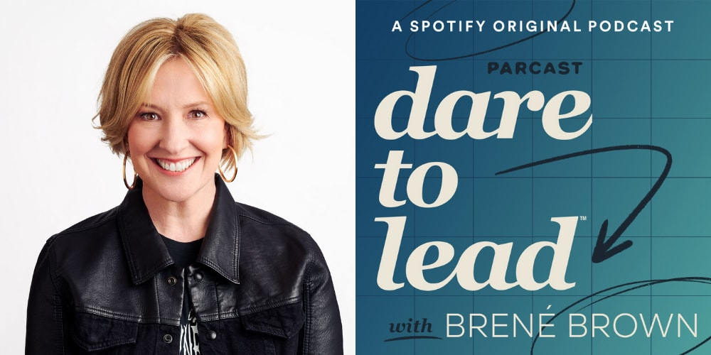 Woman with blonde hair and black shirt smiling in headshot, Brené Brown, woman, leadership, podcast, leaders