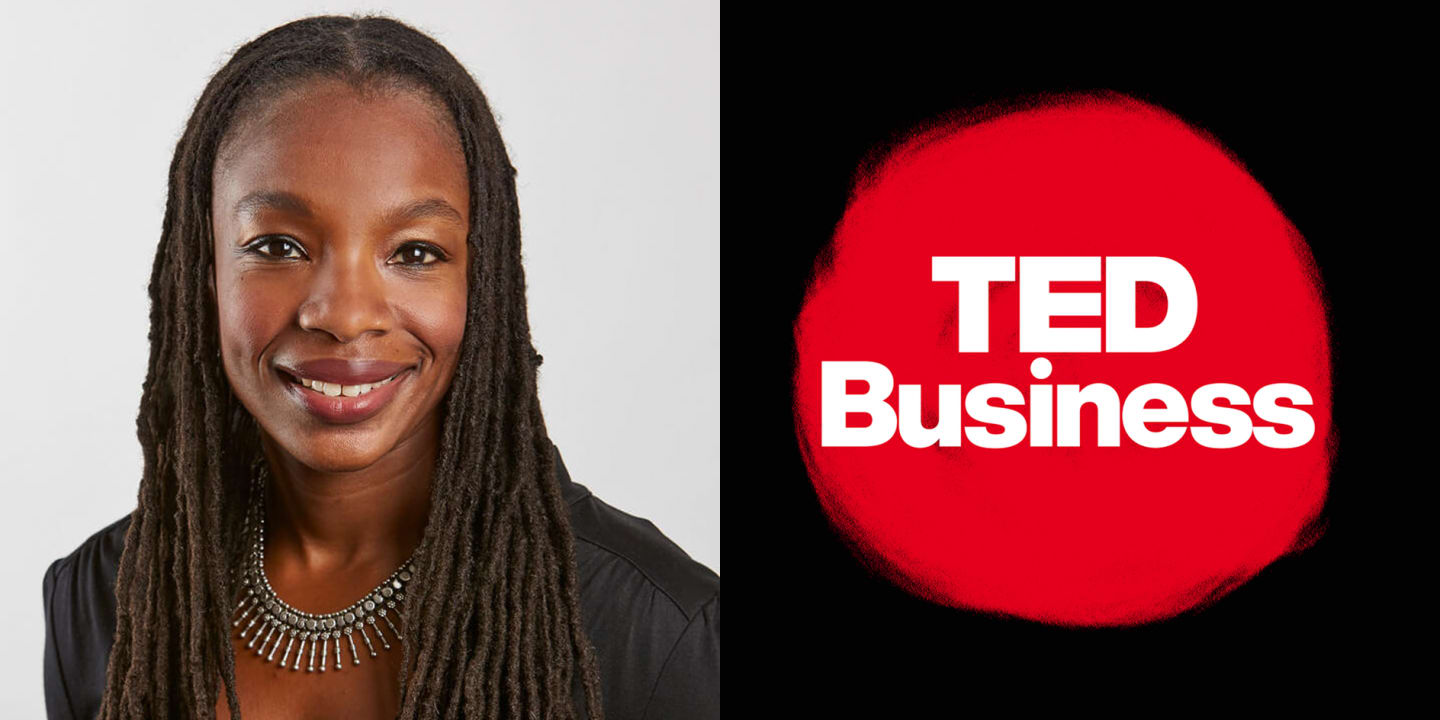 Woman wearing black shirt smiling in headshot, TED Business, podcast, Modupe Akinola, leadership, leaders, learning