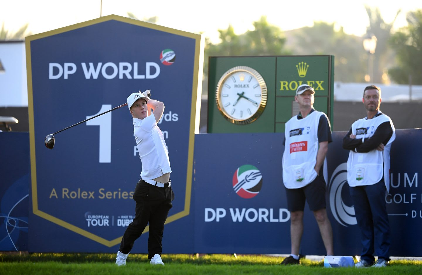 Brendan Lawlor tees off on the 1st hole during Round One of the EDGA Dubai Finale at Jumeirah Golf Estates on November 22, 2019 in Dubai, disability, golfer, sports, adidas, athlete