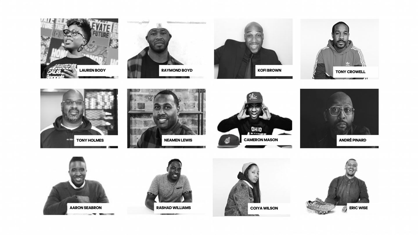 Headshots of adidas employees in diversity and inclusion committee, UAR, BLM, Black. community, adidas, employees