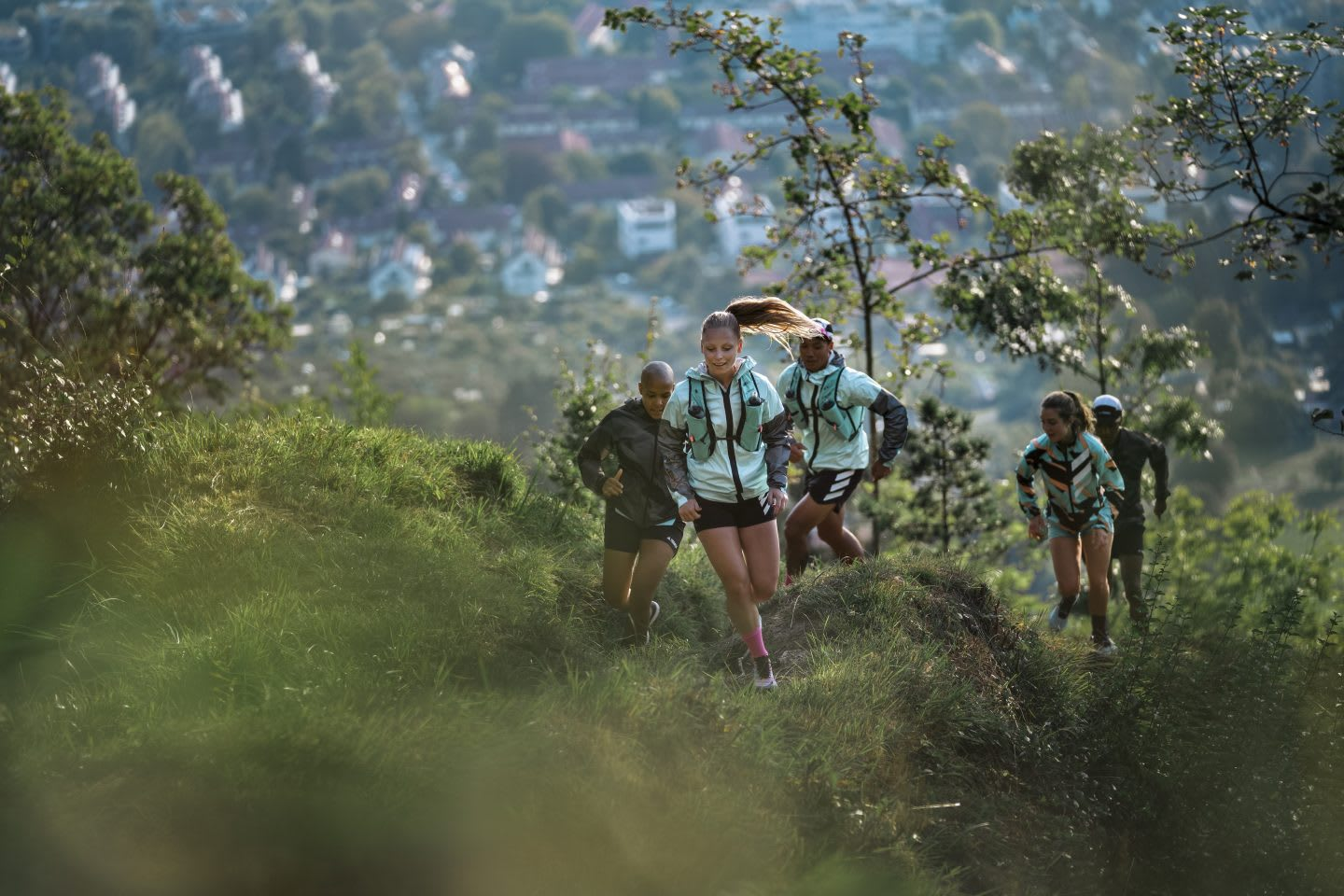 Group of men and women trail running in an outdoor environment, adidas, Outdoor, Terrex, sports, exercise
