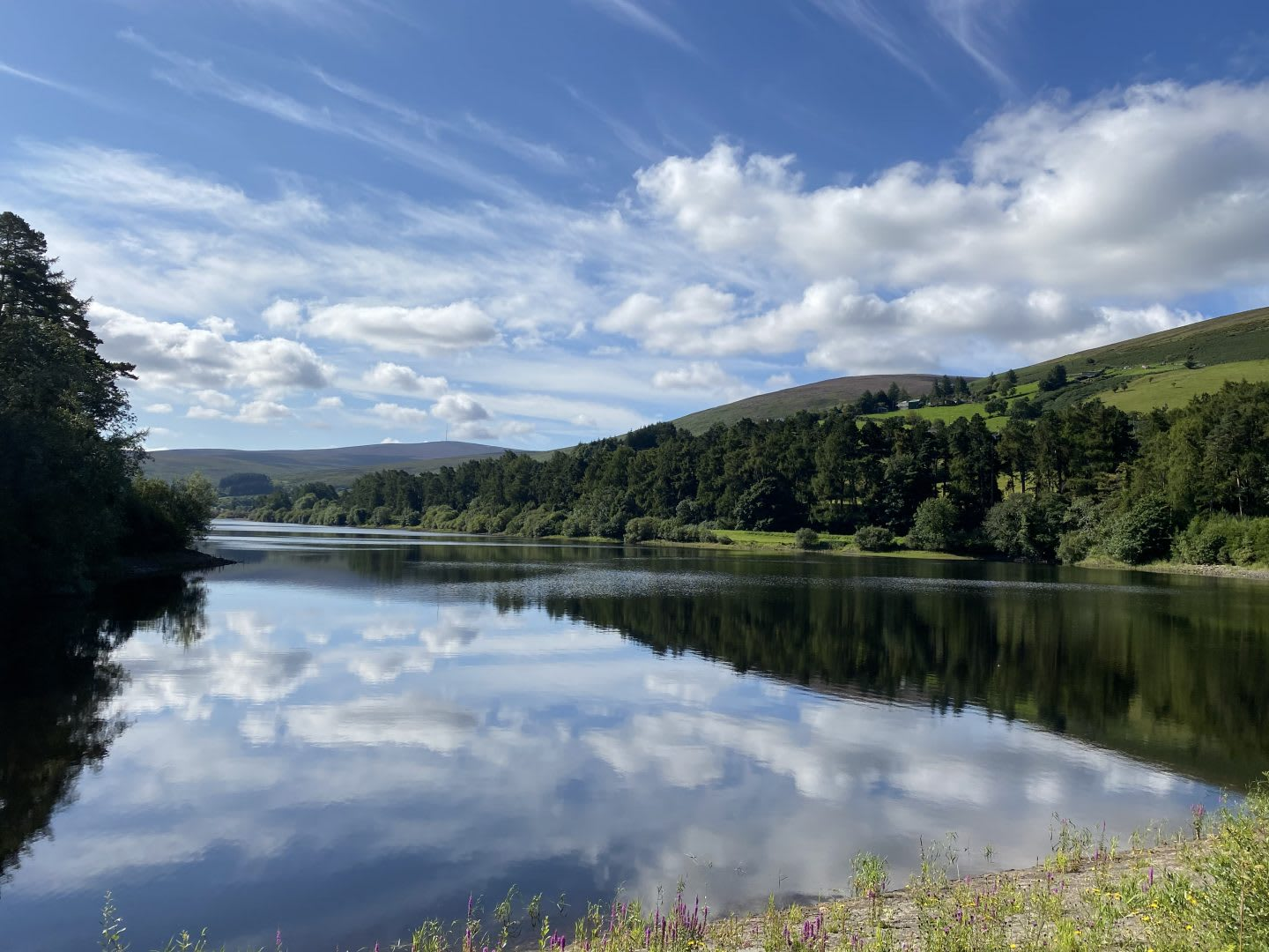 View of reservoir on a clear day with a reflection of the sky, Bohernabreena, nature, outdoors