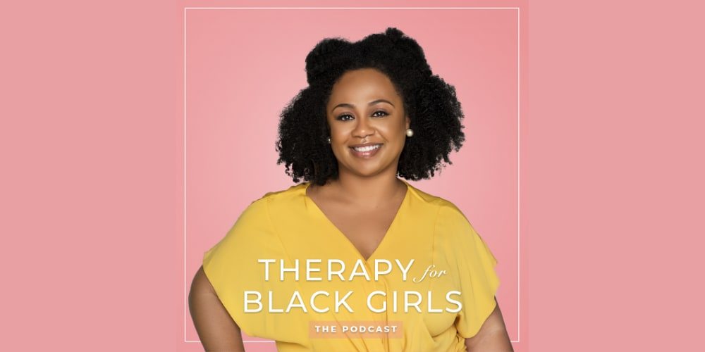 The logo of the podcast Therapy for Black Girls. mental health, podcast, health, lifestyle, adidas, GamePlan A