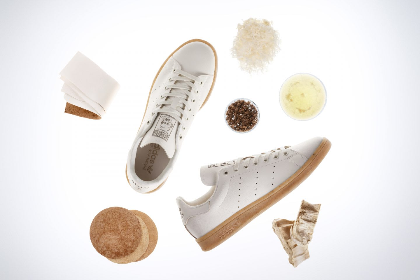 Mylo Stan Smith shoes co-created by Bolt Threads and adidas, partnership, innovation, sustainability, sustainable, ingredients, circularity