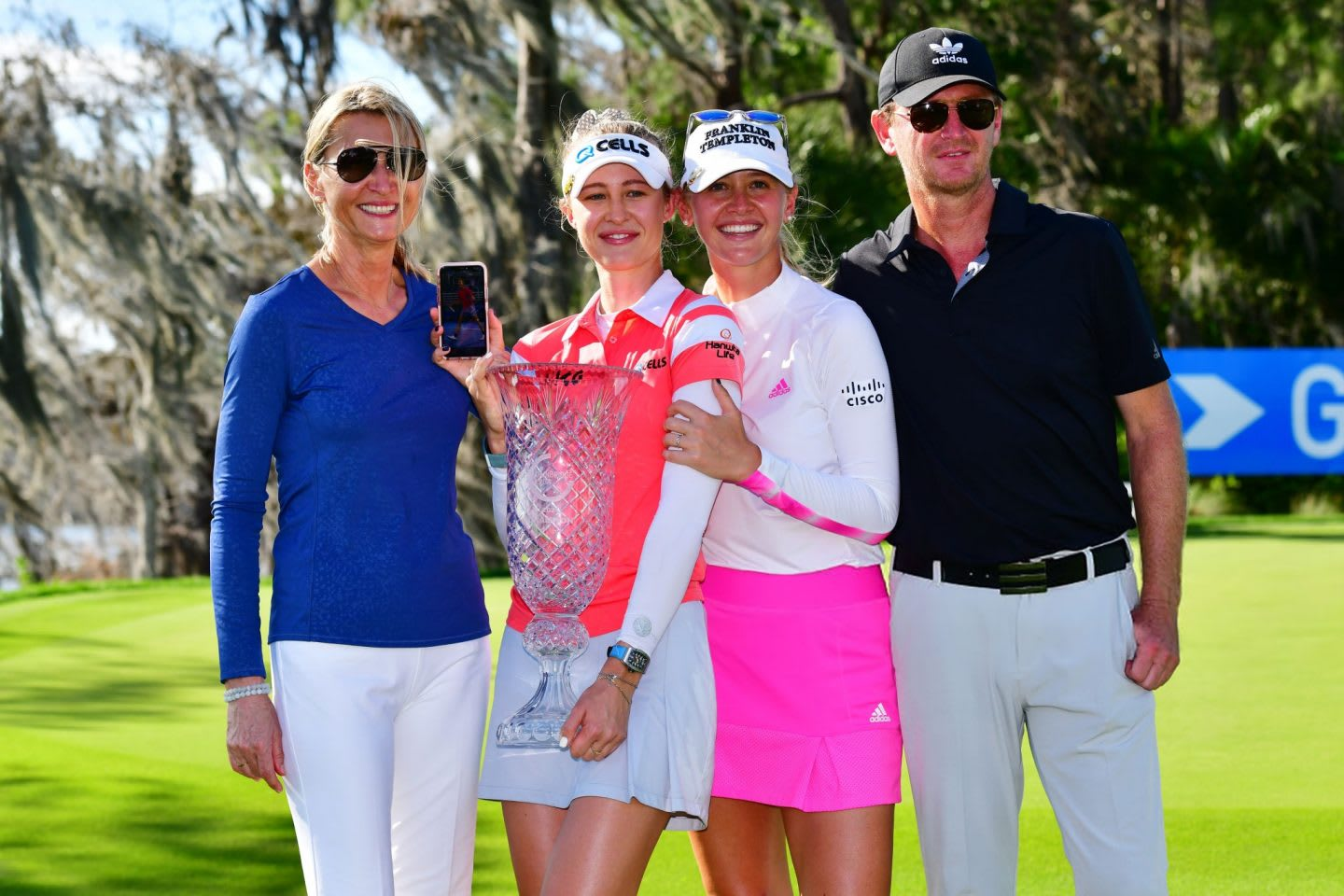 Nelly Korda adds Sebastian to family picture after success in Orlando. Family, golf, tennis, trophy, Sebastian Korda