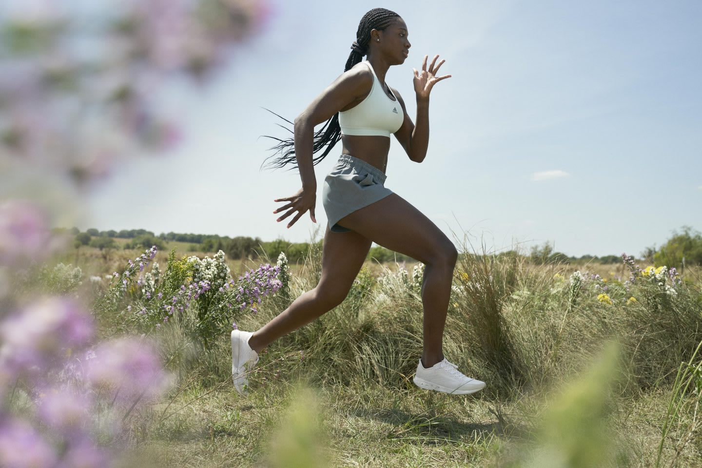 model is running in nature with futurecraft.footprint shoes, adidas, nature, running, shoes, GamePlanA