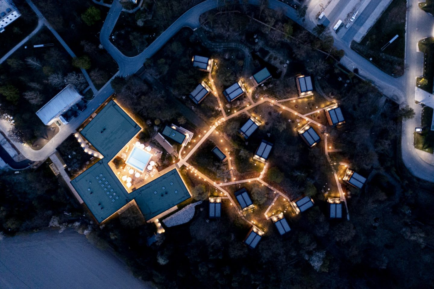 The stay of the Germany national football team at night from above. Home Ground, football, teamwork, adidas headquarters, GamePlan A.