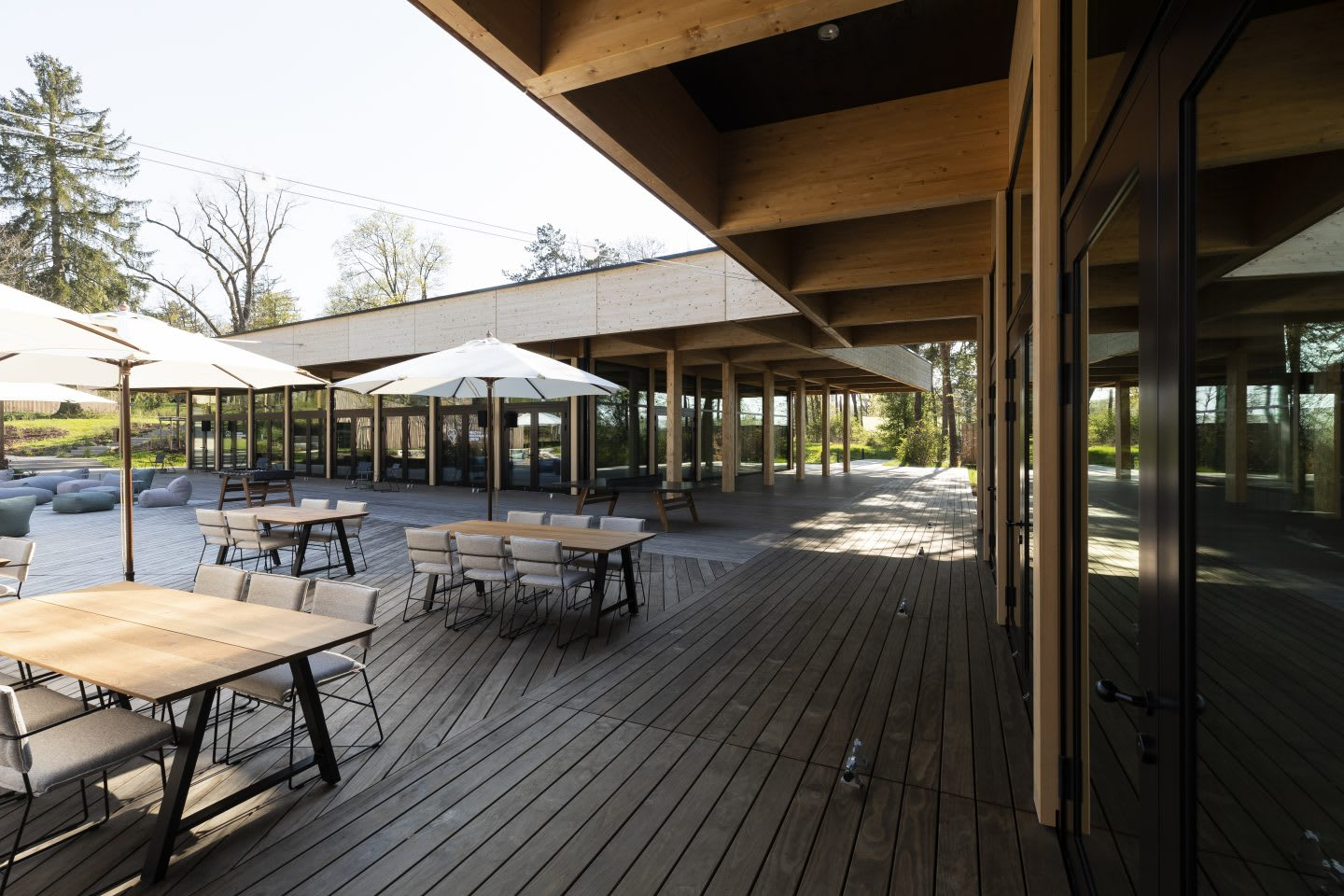 The outdoor seating area of the base camp of the Germany national football team. Home Ground, football, teamwork, adidas headquarters, GamePlan A.