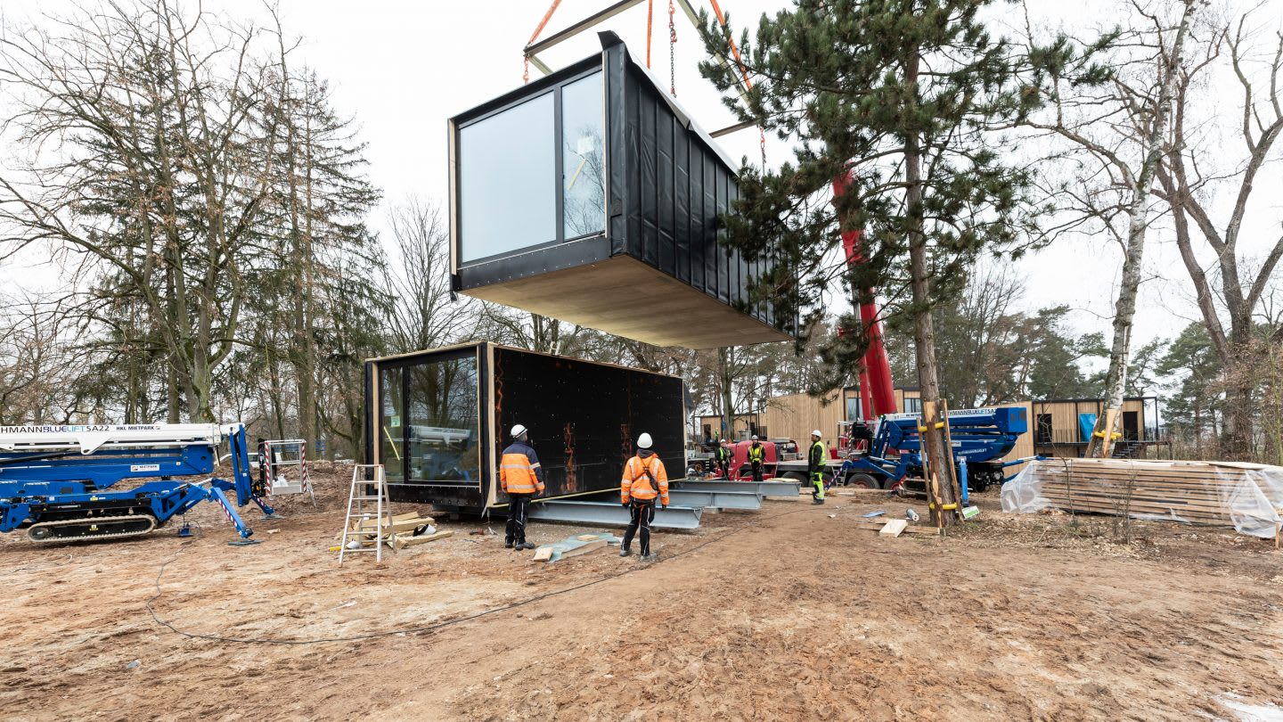 A living container on the construction site of the basecamp for the German national football team at adidas headquarters. Home Ground, football, Germany, adidas headquarters, teamwork, GamePlan A.