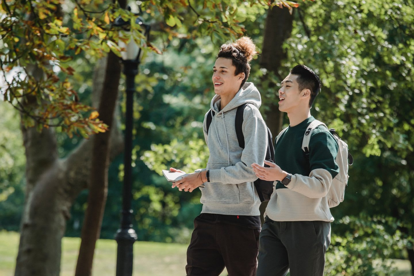 Two boys wearing backpacks and sweatshirts walking while talking, young, boys, socializing, summer, green, outdoors