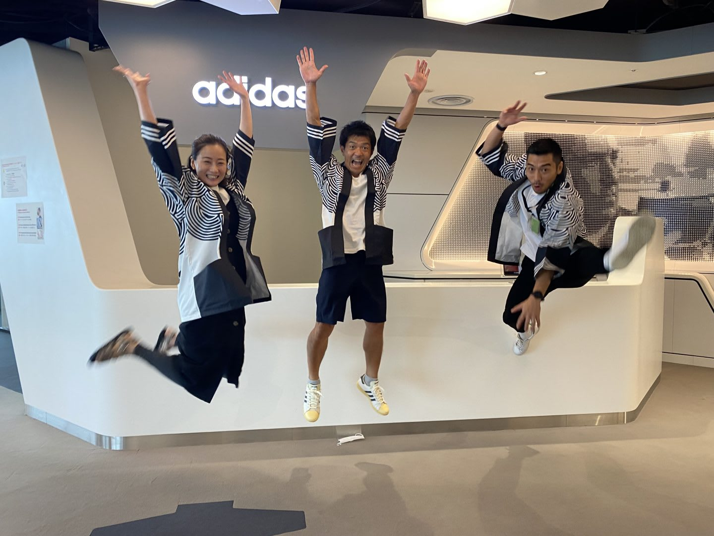 Ando and team with Takahashi Kimono jumping in the air. Project planning, adidas, Tokyo, Olympics,