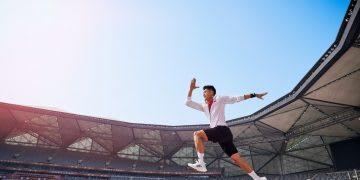 adidas athlete jumping in stadium, Tokyo. Project planning, adidas, Olympics, athlete, Tokyo