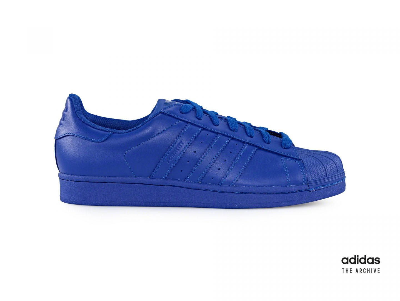 Blue adidas Superstar sneaker, Pharrell, collaboration, adidas, lifestyle, trainers