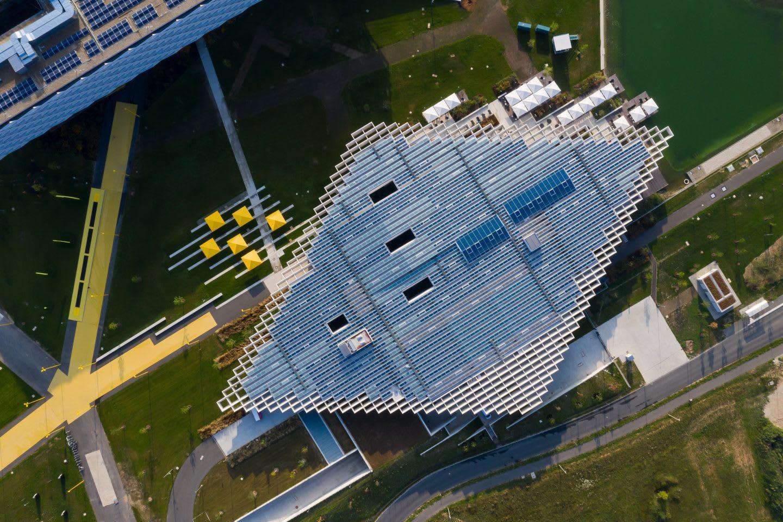 Birdseye view of diamond shaped building, adidas, HQ, headquarters, Halftime, Herzogenaurach, Germany