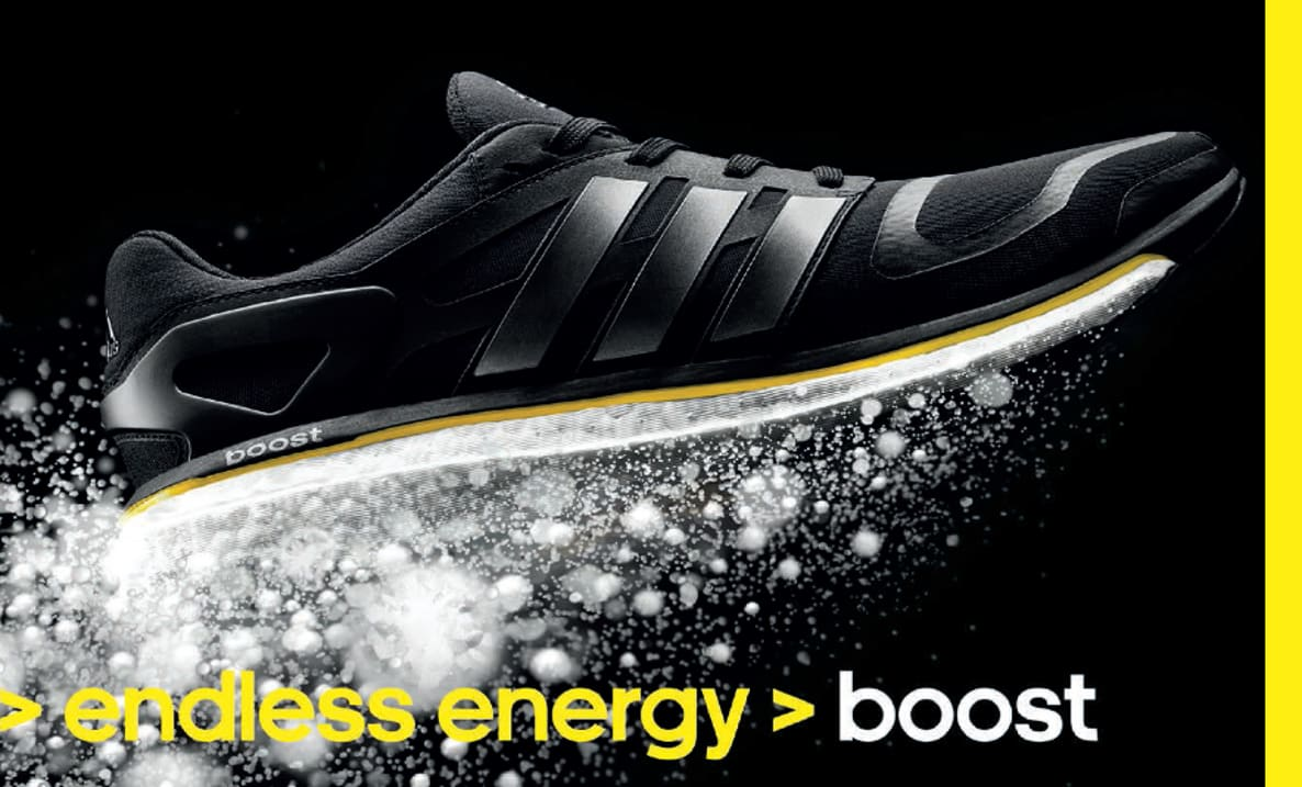 adidas poster of BOOST trainer, shoes, trainers, sports, boost, innovation