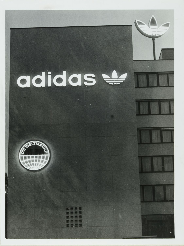 Logo of adidas on building, Trefoil, HQ, Herzogenaurach, sports, company