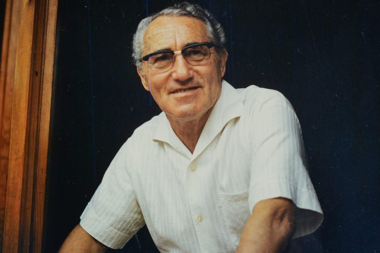 Image of old man wearing glasses in a white shirt, Adi, Adolf, Dassler, adidas, shoemaker