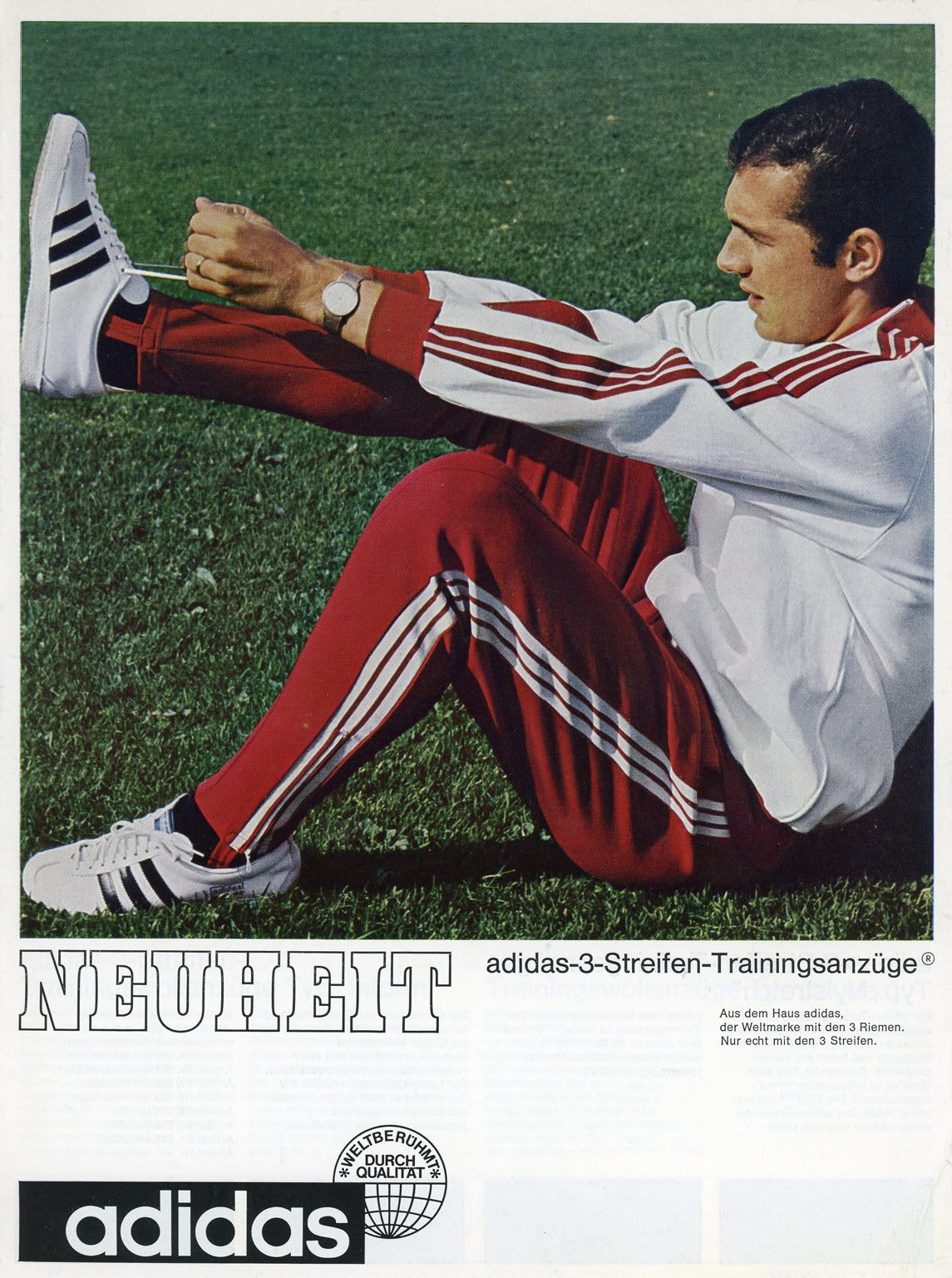 Man wearing white and red tracksuit lacing up sneakers, Franz, Beckenbauer, footballer, football, adidas, tracksuit