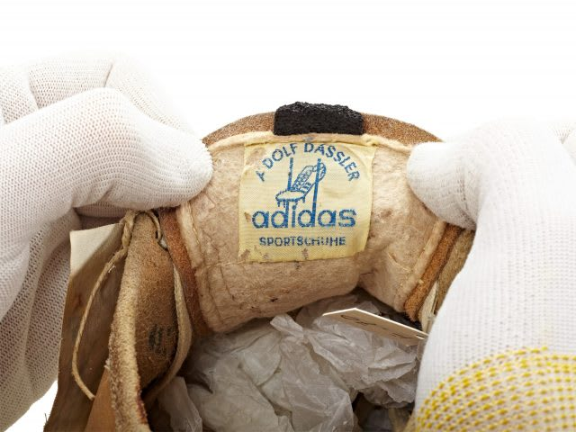 Old adidas label inside the shoe tongue, archive, adidas, sports, history, shoes