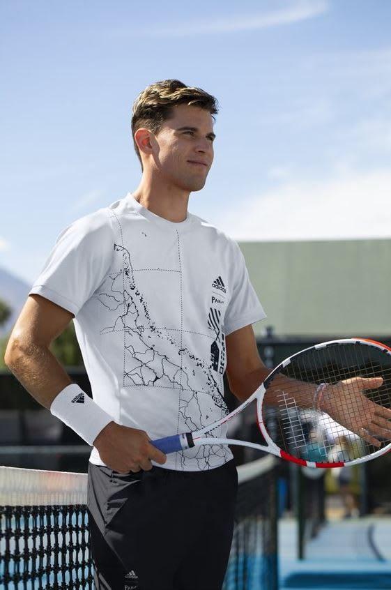 Man wearing white t-shirt holding a tennis racket, Dominic, Thiem, tennis, player, athlete, sports, sport, adidas, GamePlan A