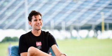 Caucasian man sitting on a chair smiling, Dominic, Thiem, tennis, player, sports, sport, adidas, athlete, GamePlan A