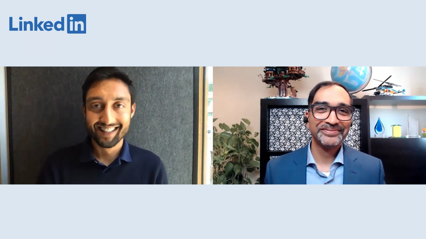 Two men smiling while talking to each other on split screen, Ryan, Patel, Devin, Banerjee, HP, business