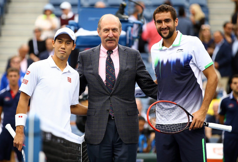 Man wearing dark suit standing in between two tennis players, Stan Smith, Kei Nishikori, Marin Cilic, tennis, players, athlete, athletes, sports, sport, US Open