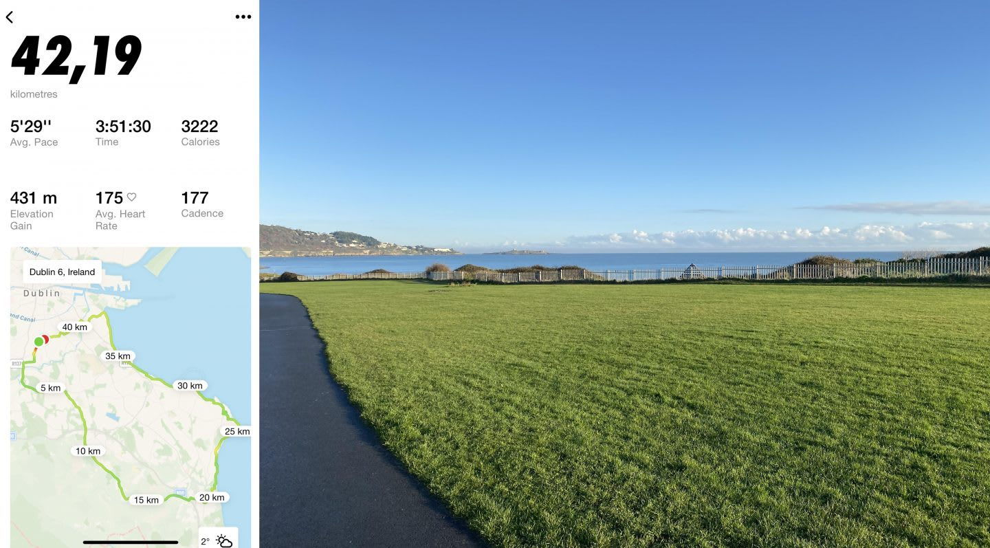 Field of grass in outdoors on a sunny day, Dublin, running, marathon, training, tracking, road