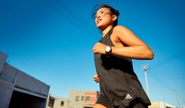 Woman wearing black sports shirt running outside, adidas, sports, sport, fitness, running, exercise, woman