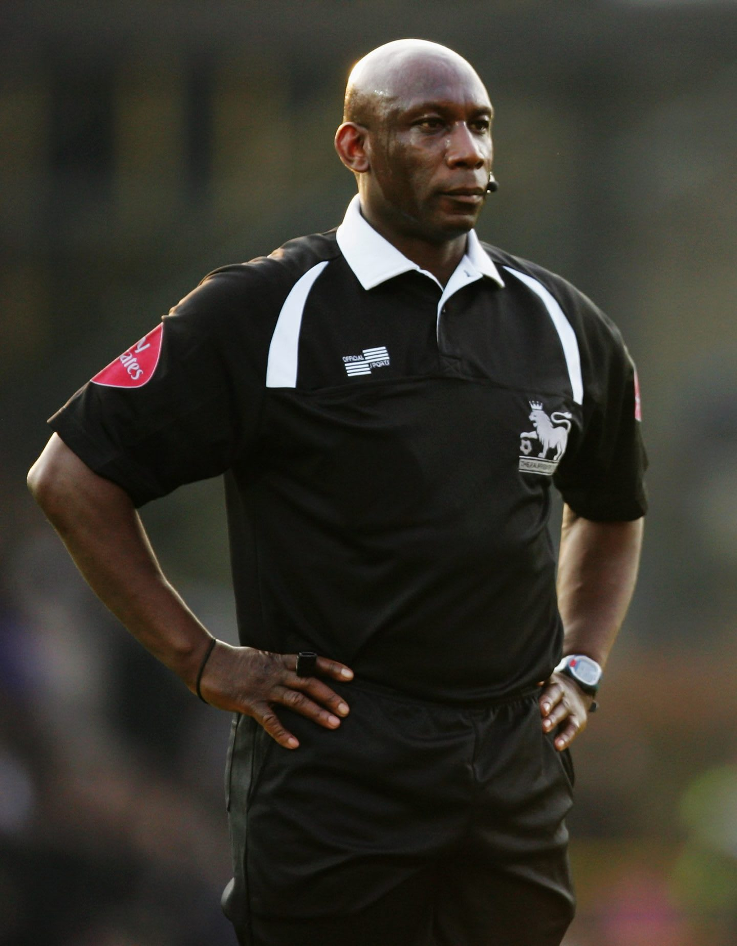 Match referee Uriah Rennie during the Barclays Premiership match between Watford and Chelsea at Vicarage Road, referee, umpire, football, England, Chelsea, Watford