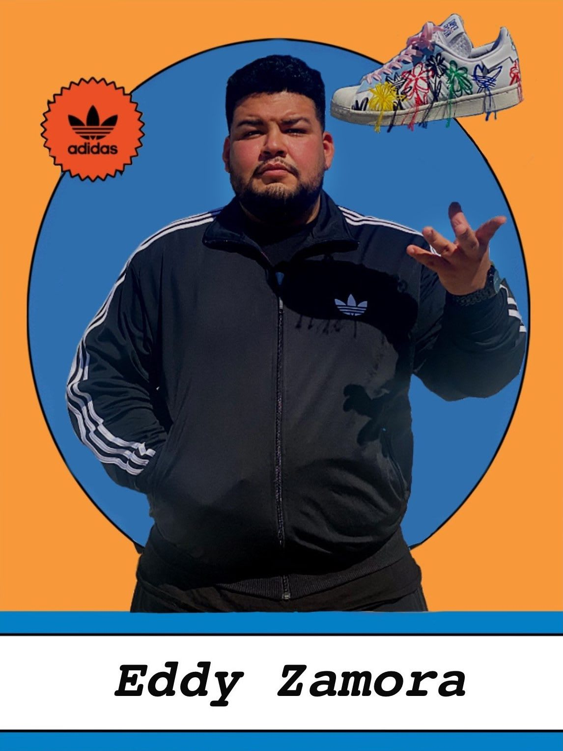 Man throwing a shoe in the air in front of a blue and orange backdrop, Eddy Zamora, adidas, designer, design, creativity