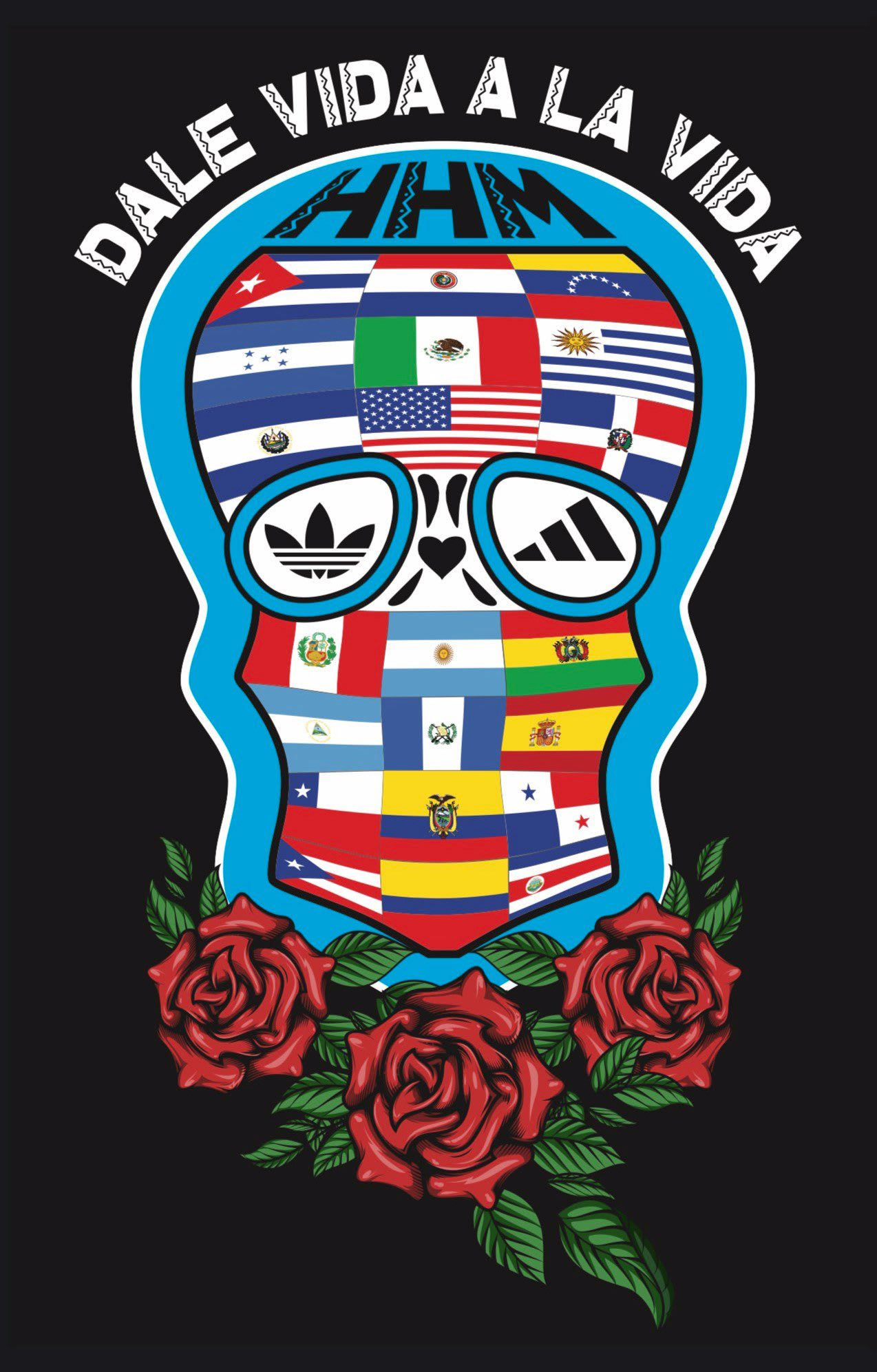 Skill made of different flags from different countries, Eddy Zamora, adidas, designer, employee, creativity, design