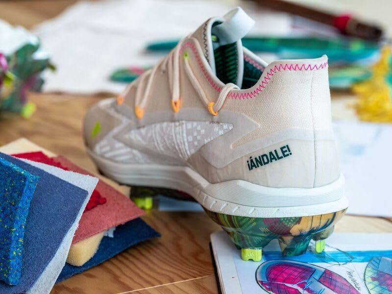 Cream-colored adidas football shoes, adidas, design, sports, creativity, Hispanic, Latinx