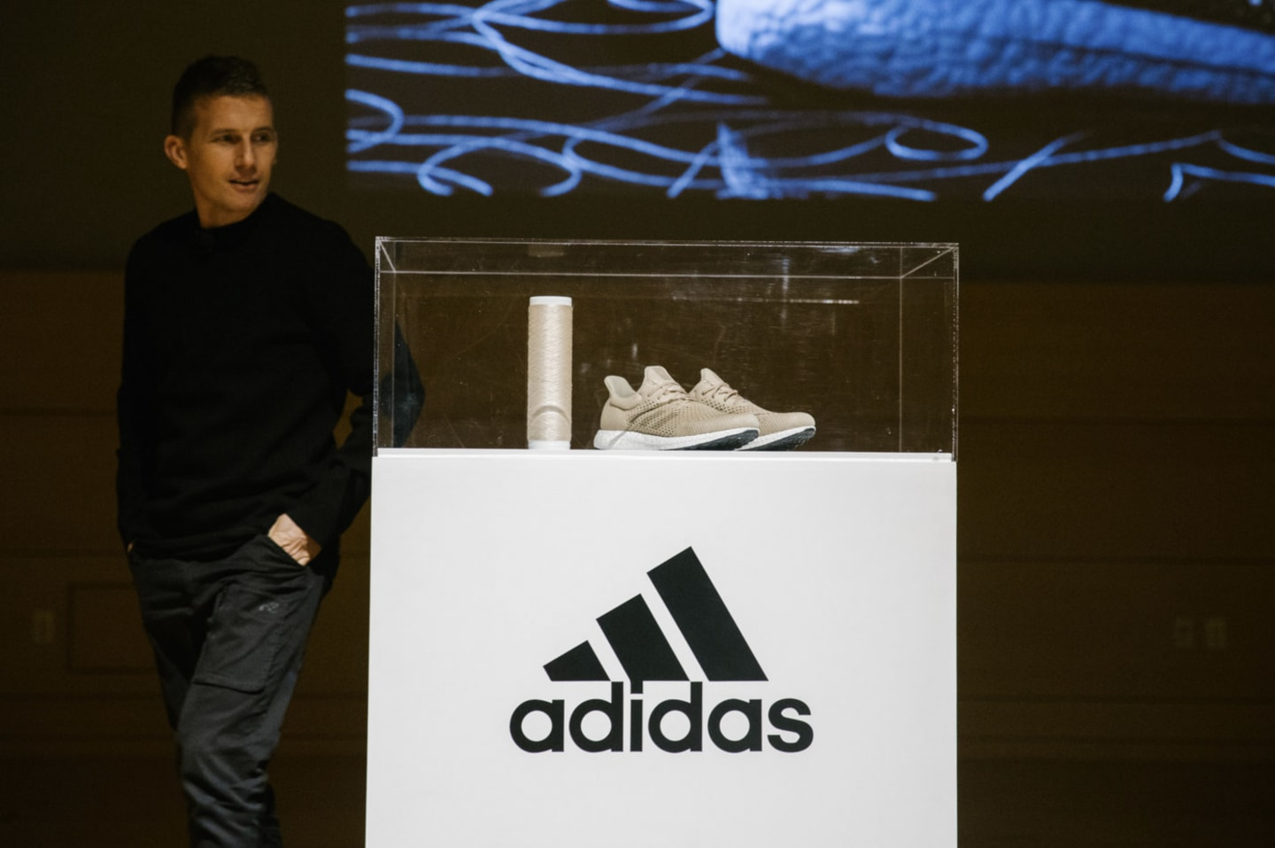 adidas shoe in display case biofabricate future