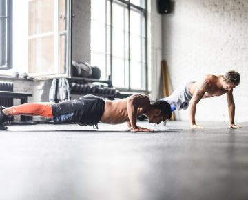 Men doing push-ups, fitness, workout at work