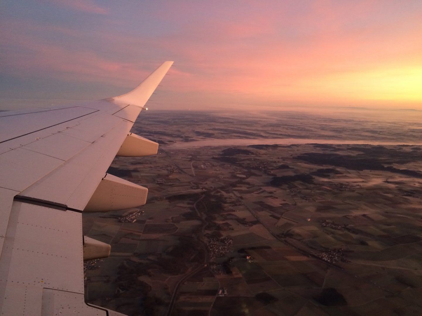 aircraft wing and sunset on the road to your career dreams