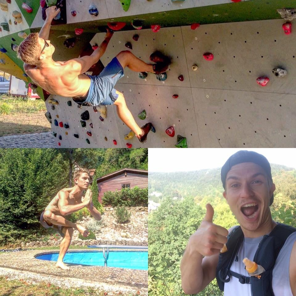 Man doing yoga, trail running and bouldering working part-time boosts career