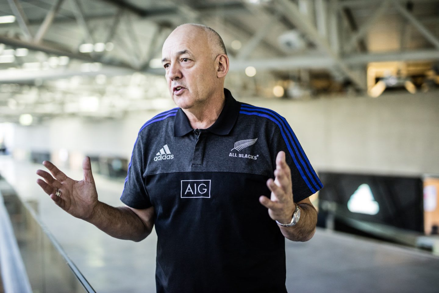 Man gesturing during interview with adidas All Blacks Mental Coach Gilbert Enoka talking mental strength vulnerability team spirit