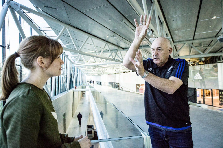 Man and Woman during Interview adidas All Blacks Mental Coach Gilbert Enoka talking mental Strength vulnerability team spirit
