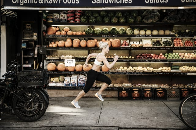 Reebok woman caught running in front of organic food shop