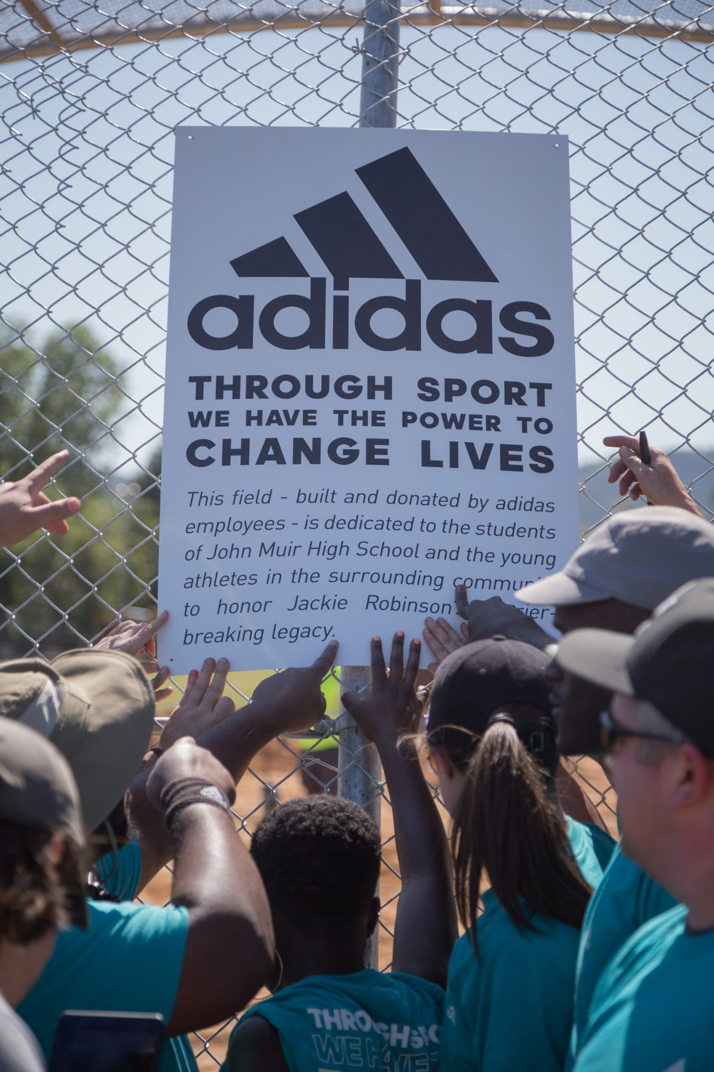 adidas-employees-beneficence-John-Muir-High-School-Jackie-Robinson-Baseball-Field-construction-through-sport-we-have-the-power-to-change-lives